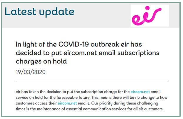 Changes Coming For Customers Of Eircom Free Email Service Eonvia